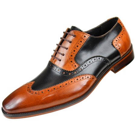 Asher Green Mens Two Tone Genuine Calf Leather Wingtip Spectator Oxford Dress Shoe, Low-Top or High-Top Style -