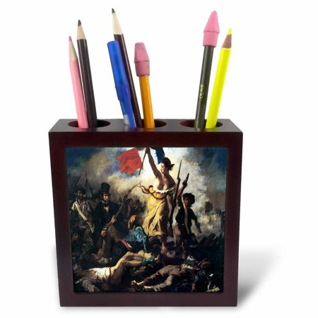 3dRose Liberty Leading the People by Eugene Delacroix, Tile Pen Holder, 5-inch Drafting Lead Pencil Holder