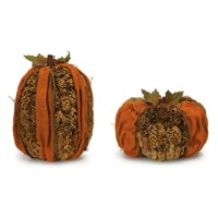 Set of 4 Orange and Brown Pine Cone Pumpkin Table Top Decorations 9""