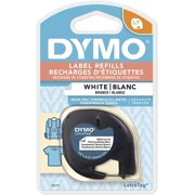 DYMO LT Iron-On Fabric Labels for LetraTag Label Makers, Black Print on White Labels, 1/2-Inch x 6-1/2-Foot Roll, Iron On