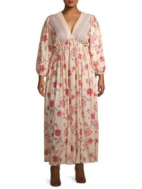 Romantic Gypsy Women's Plus Size Crochet Trim Maxi Dress