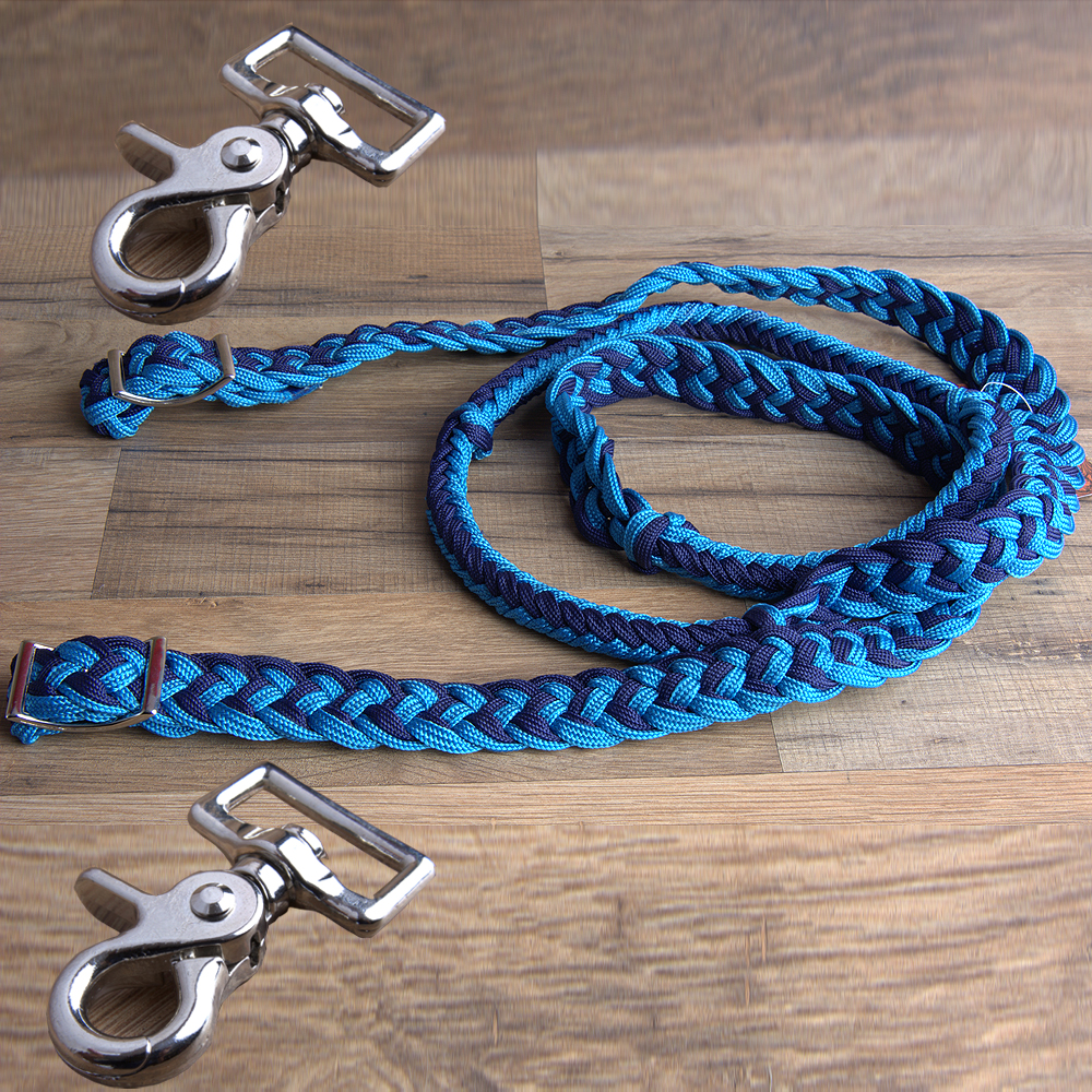 "HILASON BRAIDED POLY BARREL RACING CONTEST REINS FLAT w/ SNAPS1"" X 8FT Turquoise/Navy"