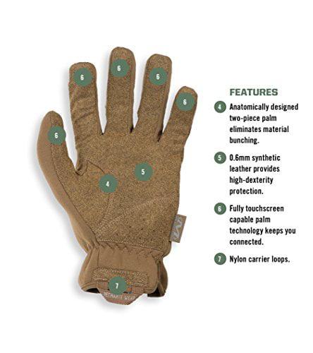 FastFit Coyote Touch Screen Gloves Mechanix Wear Medium, Brown
