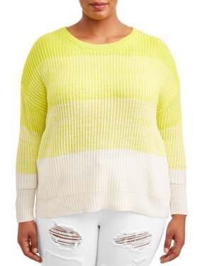 No Comment Juniors' Plus Size Neon Ombre Drop Shoulder Sweater