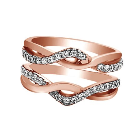 White Cubic Zirconia Enhanced Ring Guard Wrap Wedding Ring in 14k Two-Tone Rose Gold Over Sterling Silver (0.57 Cttw)