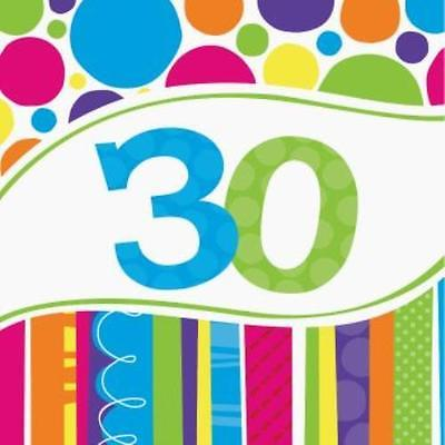 Bright & Bold 30th Birthday Lunch Napkins , 4PK