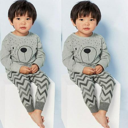 2pcs Kids Baby Boy Girls Toddler Cartoon Tops+Pants Pajamas Set Sleepwear Outfit - Cartoon Characters Outfits