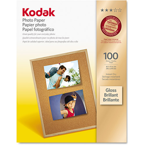 "Kodak 8.5"" x 11"" Gloss Inkjet Photo Paper, 100-Pack"
