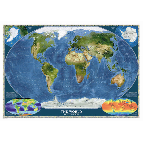 National Geographic Maps World Satellite Wall Map
