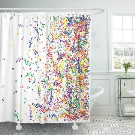 KSADK Music Signs and Symbols Confetti Flying Rainbow Colored Notes Falling Down Abstract Red Orange Yellow Shower Curtain Bathroom Curtain 60x72 inch (Music Note Confetti)