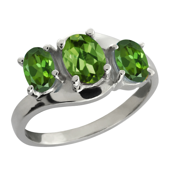 1.65 Ct Oval Green Tourmaline Gemstone 18k White Gold Ring by