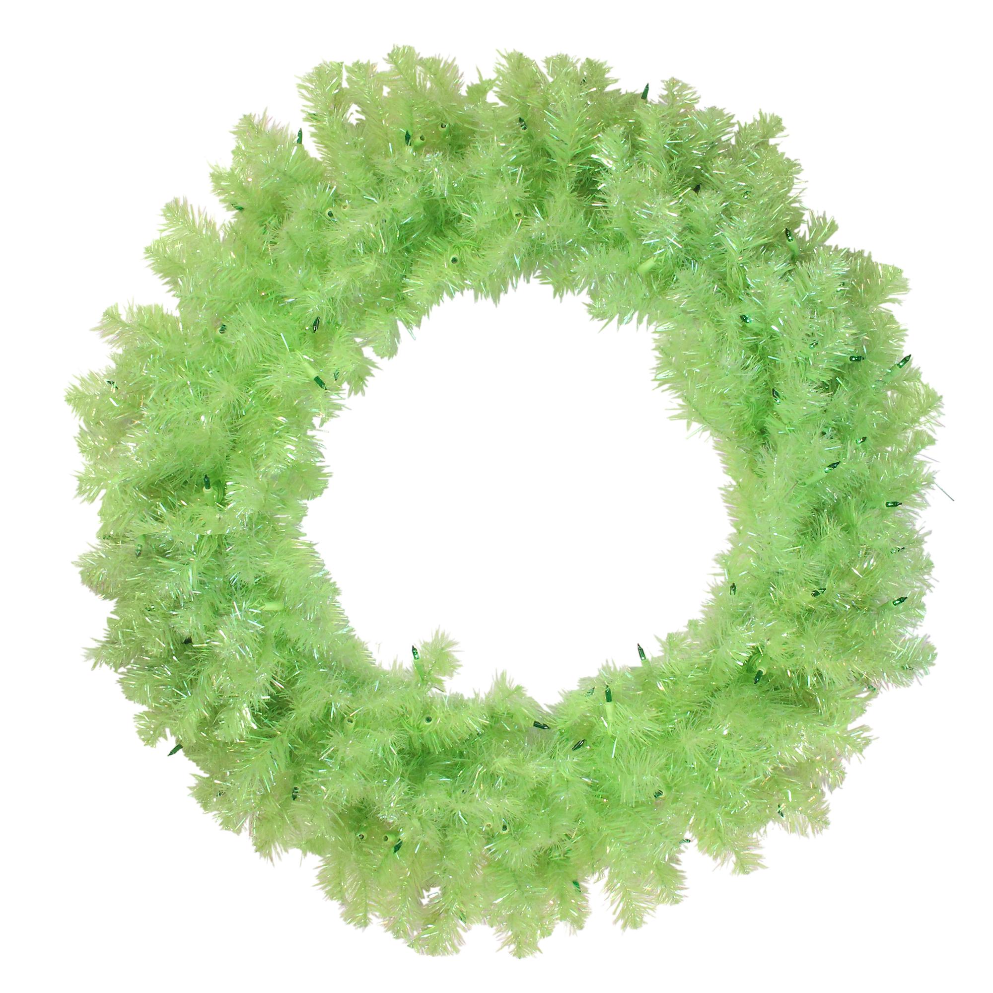 "Vickerman 36"" Prelit Chartreuse Green Wide Cut Artificial Christmas Wreath - Green Lights"