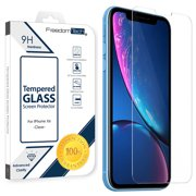 "iPhone XR Tempered Glass Screen Protector Cover, Afflux Tempered Glass Screen Protector for Apple iPhone XR 6.1"" 9H Hardness, Premium Clarity, Scratch-Resistant, Anti-Bubble, Retail Box"