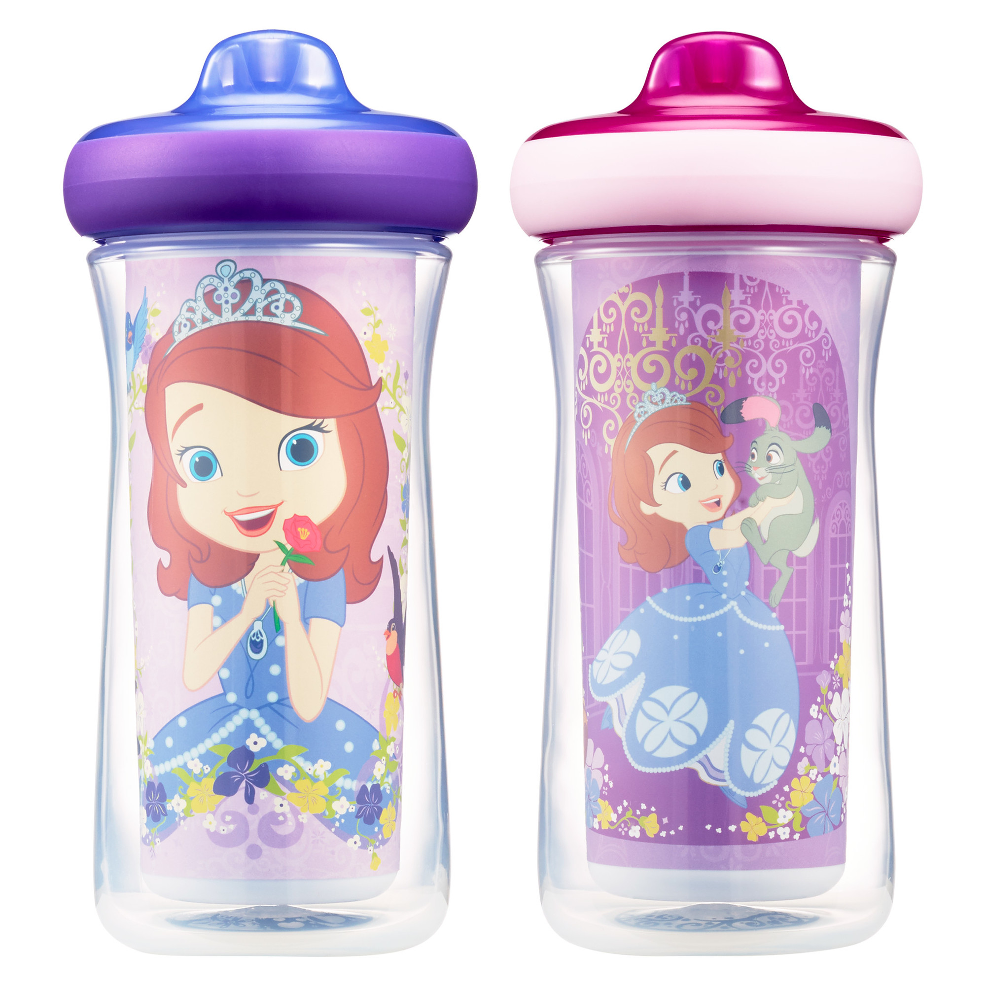 Disney Sofia Insulated Hard Spout Sippy Cups 9 Oz, 2pk | Scan with Free Share the Smiles App for Cute Animation | Share with Friends | Leak Proof Cups | Keeps Drinks Cool | Drop Guard |Toddler Cup