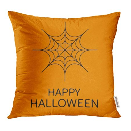 ARHOME Autumn Happy Halloween Spider Round Black Cobweb Flat Design Orange Baby Boo Pillow Case Pillow Cover 18x18 inch Throw Pillow Covers](Black And Orange Halloween Nail Designs)