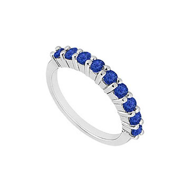 FineJewelryVault UBW1329W14S-101 Sapphire Wedding Band : 14K White Gold - 1. 00 CT TGW - Size: 7