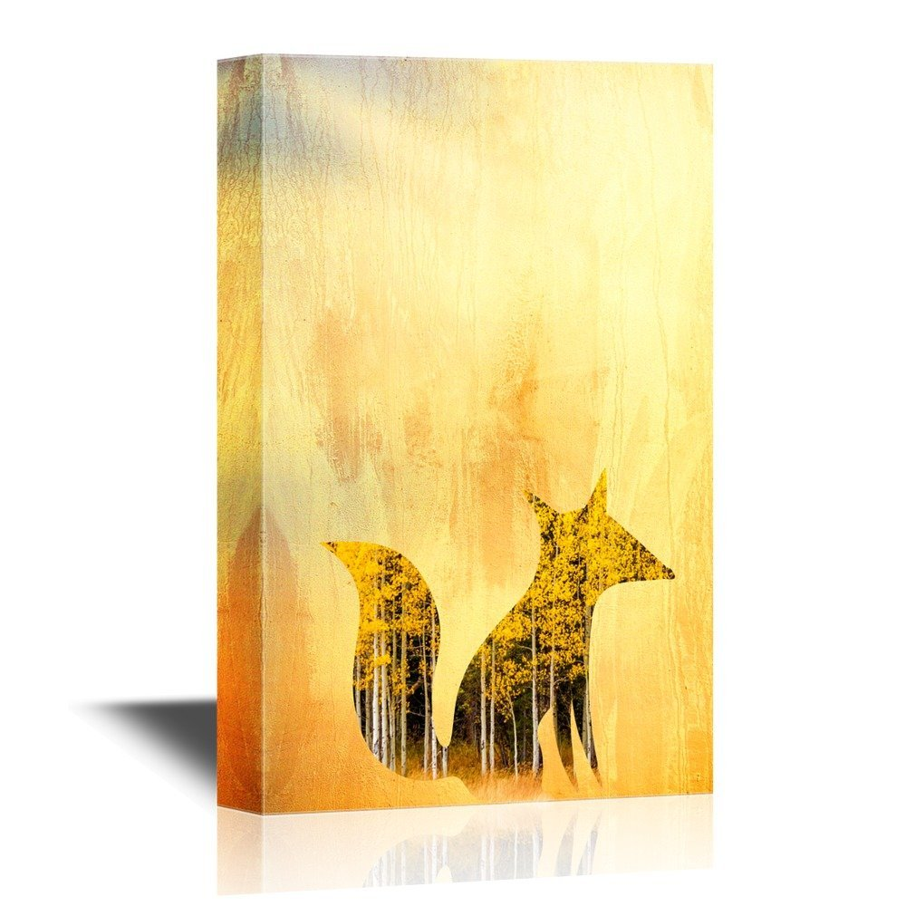 wall26 Canvas Wall Art - Cartoon Fox Flying Above the Mountains and ...