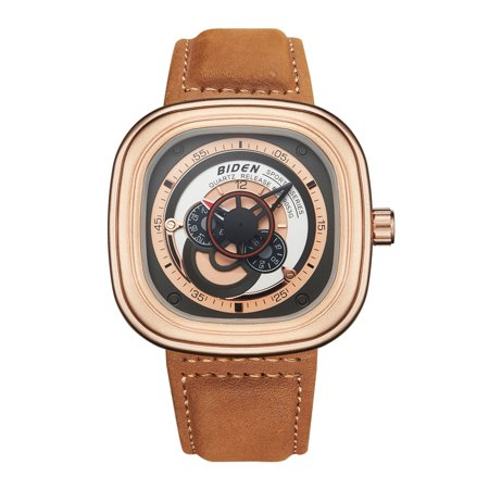 Mens Quartz Watch Colorful Dial Leather Strap Modern Style Minute Fashion Simple Ultra-Thin for Collection Gift Casual