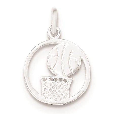 Sterling Iron Basketball (925 Sterling Silver Polished Basketball Flat-back Charm Pendant )