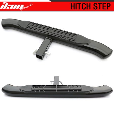 10 Inch Step Bumper - Universal Hitch Step Bumper Guard Compatible with Cabs 2Inch Receiver 4Inch Curved Black 2PC