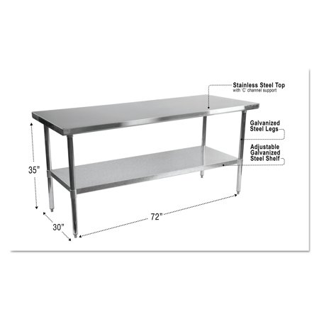 Alera NSF Stainless Steel Commercial Kitchen Prep Work Table - Stainless steel commercial work table 30 x 72