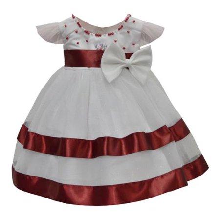 a0ae0168a4b Baby Girls White Burgundy Beaded Work Short Sleeved Dress 18M