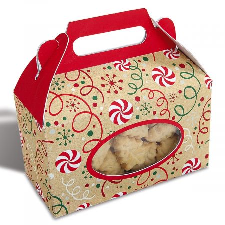 Kraft Christmas Candy Gable Box- Set of 6 Holiday Treat Boxes, Cookie Gift Box With Clear Window - Christmas Cookie Gift Boxes