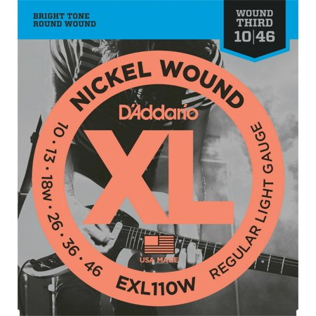 - EXL110W Nickel Wound Electric Guitar Strings, Regular Light, Wound 3rd, 10-46, Popular XL110-gauging with a wound 3rd string By D'Addario