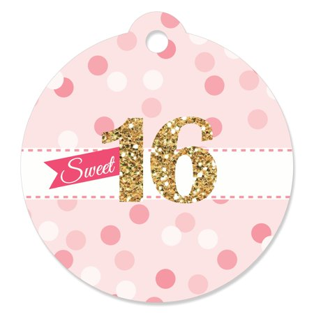 Sweet 16 - 16th Birthday Party Favor Tags (Set of 20) (16th Birthday Favors)
