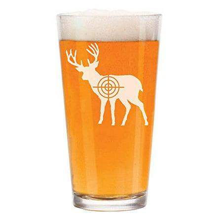 16 oz Beer Pint Glass Deer with Bullseye Hunting