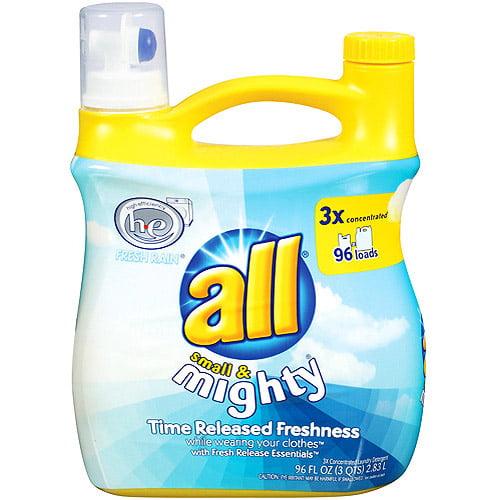 All 3X Small & Mighty HE Liquid Laundry Detergent, Fresh Rain, 96 oz