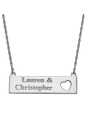 Personalized Couple's Women's Sterling Silver or Gold over Silver Name with Heart Bar Necklace