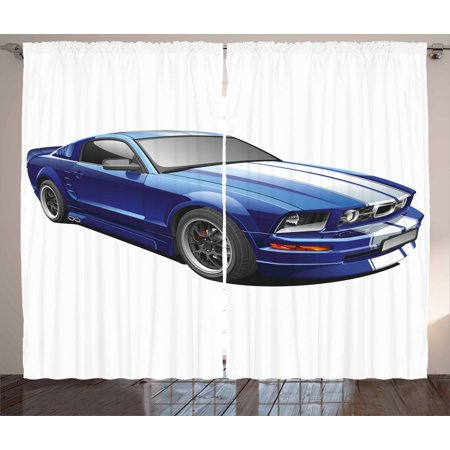 Teen Room Decor Curtains 2 Panels Set, American Auto Racing Car Sports Competition Speed Winner Boys Kids Graphic, Window Drapes for Living Room Bedroom, 108W X 84L Inches, Blue Grey, by Ambesonne - Race Car Decor