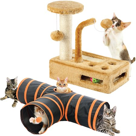 (Set) Kitty Play Activity Gym And Nylon Feline Indoor Outdoor Cat Fun - Kitty Cat Gym