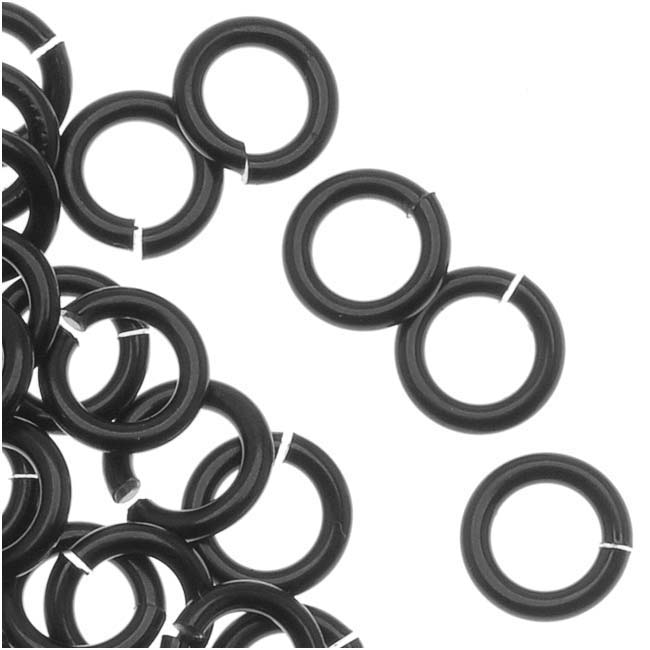 Artistic Wire, Chain Maille Jump Rings, 18 Ga / ID 3.18mm / 180pc, Black Color