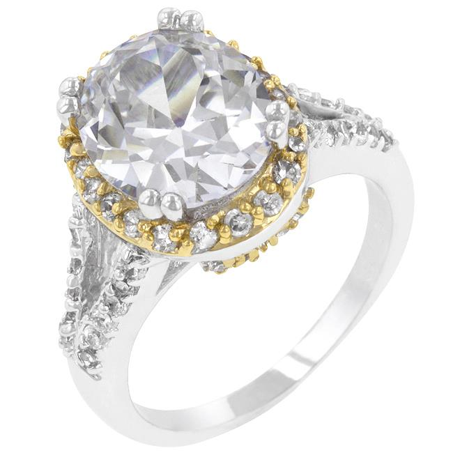 Kate Bissett R07685T-C01-10 White Gold Rhodium and 18k Gold Plated Ring with Round Cut Clear CZ in a Prong Setting in Silver and Goldtone- Size 10