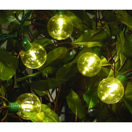 Holiday Time Led G40 Super Bright Light Set Green Wire