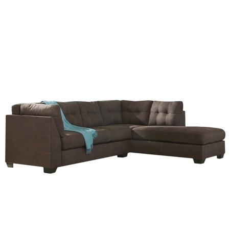 Ashley maier 2 piece right fabric chaise sectional in for 2 piece chaise sectional