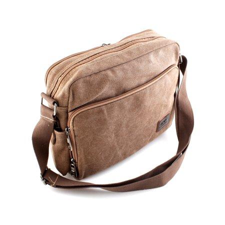 Brown Mens Canvas Leather Messenger Satchel School Shoulder Bag Briefcase