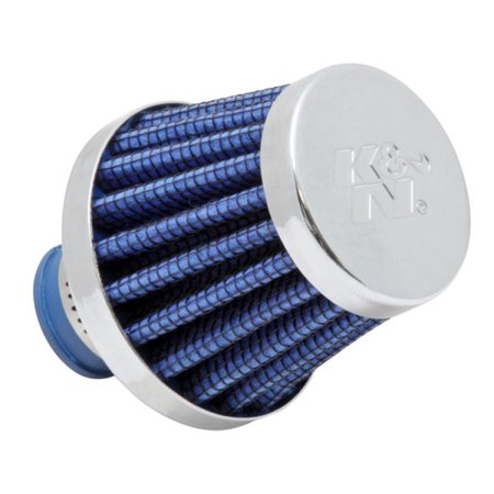 K&N 62-1600BL Vent Air Filter / Breather: Vent Air Filter/ Breather; 0.375 in/0.5 in (10 mm/13 mm) Flange ID; 1.75 in (44 mm) Height; 2 in (51 mm) Base; 2 (Engine Breather Filter)