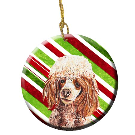 Red Miniature Poodle Candy Cane Christmas Ceramic Ornament SC9795CO1