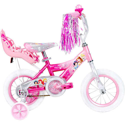 "Disney Princess 12"" Girls' Pink Bike with Doll Carrier, by Huffy"