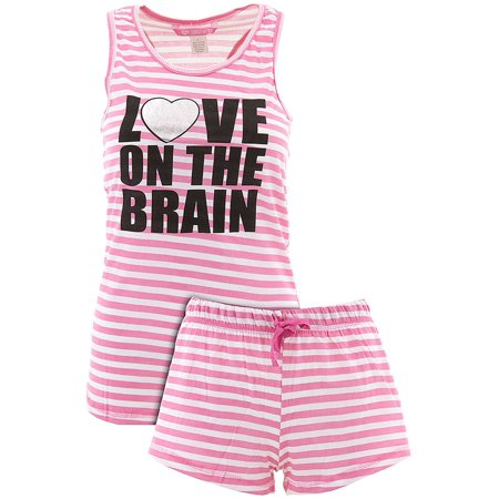 Love Loungewear Juniors Love On The Brain Pink Shorty Valentines Pajamas