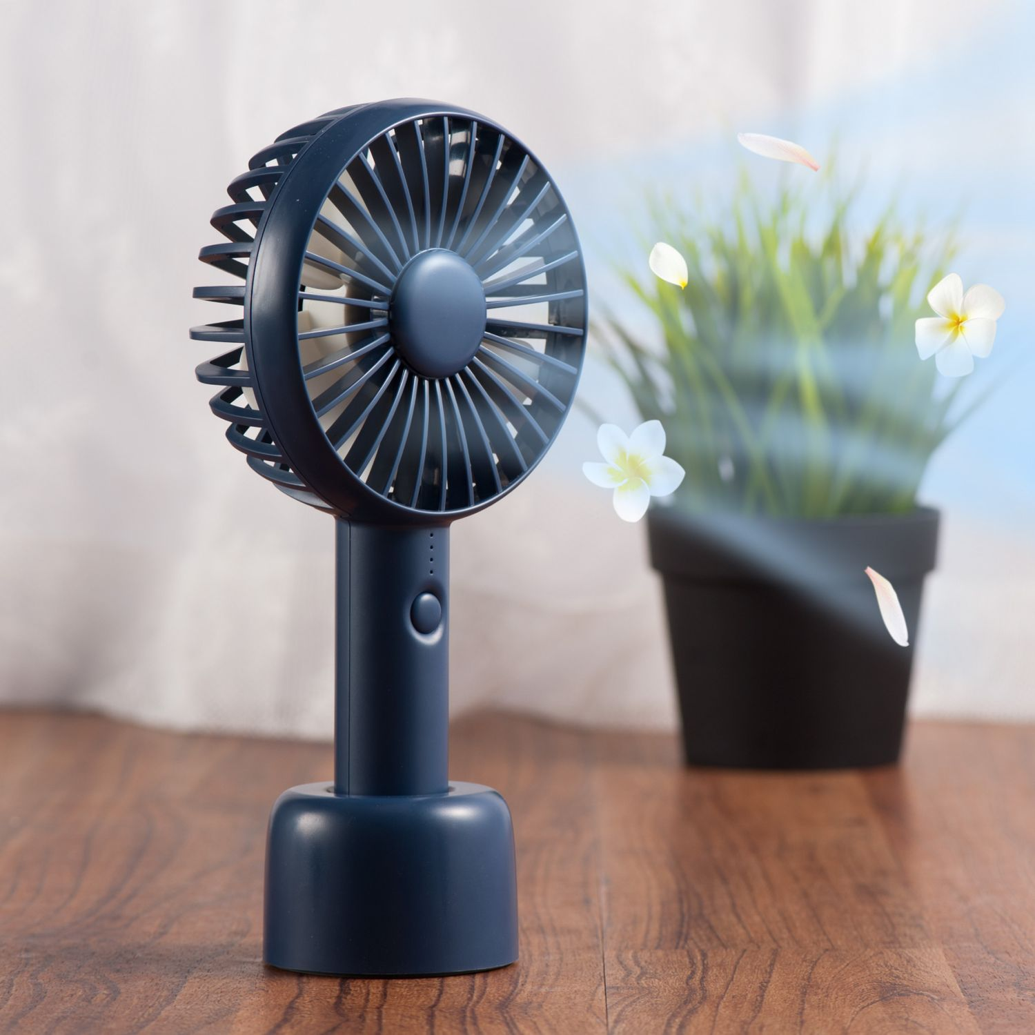 Insten Small Mini Portable Handheld Fan Aroma with USB Rechargeable Battery Cooling Fan with Desk Stand Base 3-Speed Mode for Traveling Home Office Indoor Outdoor Camping - Dark Blue