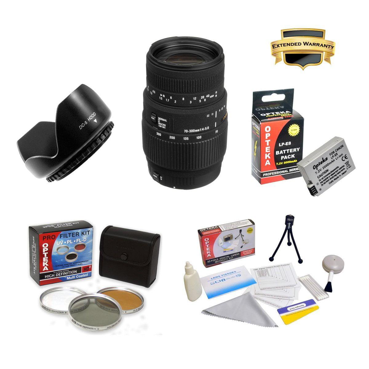 Sigma 70-300mm f/4-5.6 DG Macro Telephoto Zoom Lens For Canon EOS Rebel T2i T3i T4i T5i With Kit Includes 3 piece Filter Kit, Flower Lens Hood, 6 Year Extended Lens Warranty, Battery Pack, More