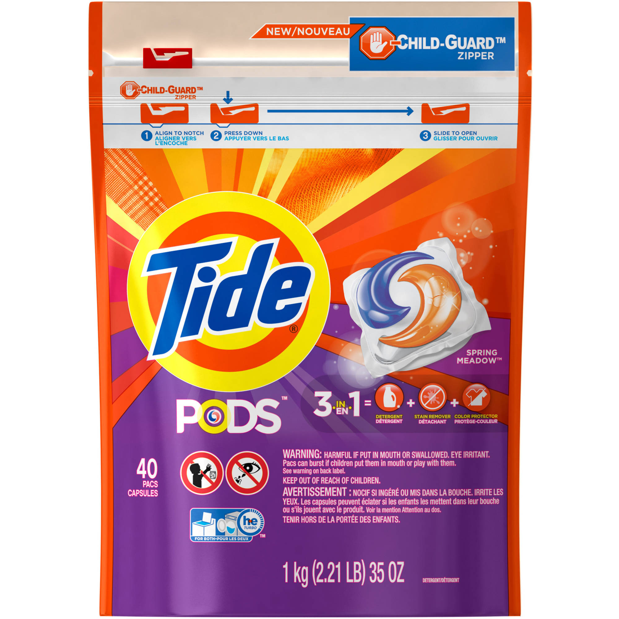 Tide PODS HE Turbo Laundry Detergent Pacs, Spring Meadow Scent, 40 count