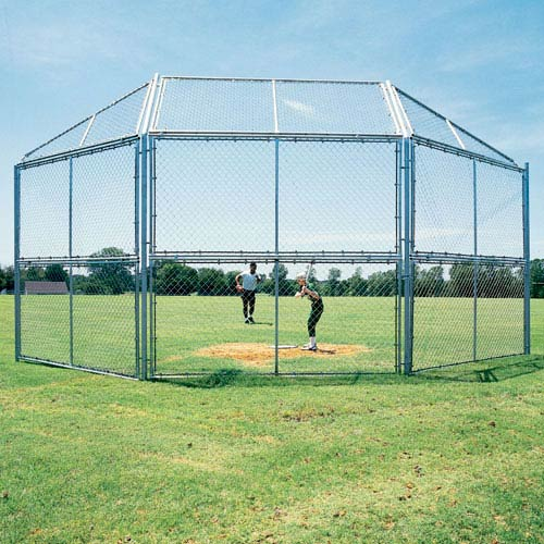 10' Chain Link Backstop with Hood and Wings
