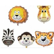 5pc JUNGLE ANIMALS BALLOONS Mylar Balloons birthday party decorations lion tiger