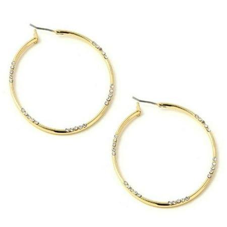 Charlestone Bridal Gold Crystal Rhinestone Hoop Dangle Earrings Style