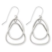 14k White Gold Circle & Triangle Dangle Wire Earrings TL127 (2.1 grams|39MM x 20MM)